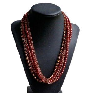 Jewelry - Copper Multi Strand Rhinestone Faux Pearl Necklace